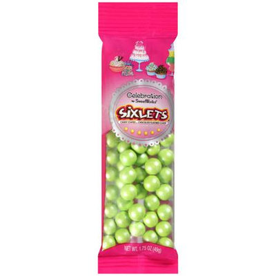Sweetworks Celebration Shimmer Lime Green Sixlets Candy, 1.75 oz