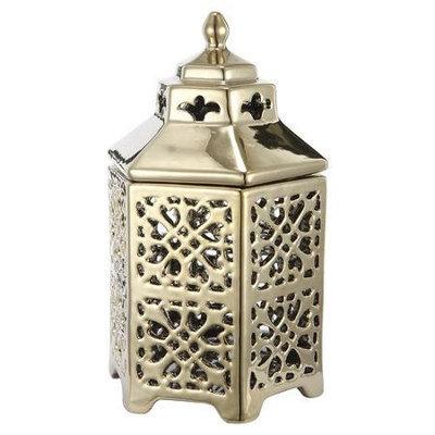 A & B Home Group Inc Carnevali Ceramic Lantern, Polished silver (Set of 2)