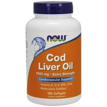 NOW Foods - Cod Liver Oil Extra Strength 1000 mg. - 180 Softgels