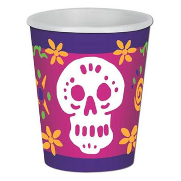 Party Central Club Pack of 96 Multicolor Day Of The Dead Beverage Skull Disposable Paper Cups 9Oz.