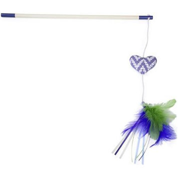 Worldwise Loved Ones Catnip Heart Feather Bloom Cat Wand-Blue