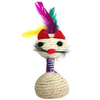 Iconic Pet C2002 Catnip Rope Cat Toy With Feathers On Head