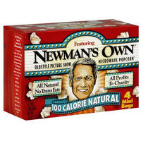 Newman's Own Microwave Popcorn Natural 100 Calorie