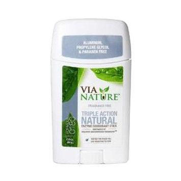 Via Nature - Triple Action Natural Enzyme Deodorant Stick Fragrance Free - 2.25 oz.