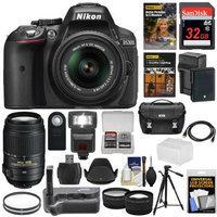 Nikon D5300 Digital SLR Camera & 18-55mm VR II & 55-300mm VR DX Lens, 32GB, DVD & Case with Battery & Charger + Filters + Flash + Grip + Tripod + Tele/Wide Lens Kit with NIKON USA Warranty