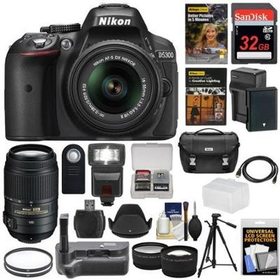 Nikon D5300 Digital SLR Camera & 18-55mm VR II & 55-300mm VR DX Lens, 32GB, DVD & Case with Battery & Charger + Filters + Flash + Grip + Tripod + Tele/Wide Lens Kit with NIKON USA Warranty
