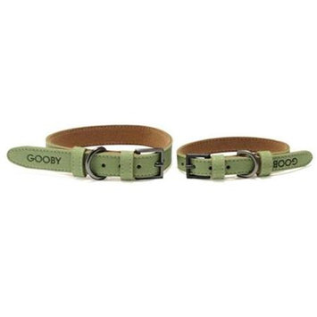 Gooby 10002-GRN-S Luxury Collar II Green And Brown Small