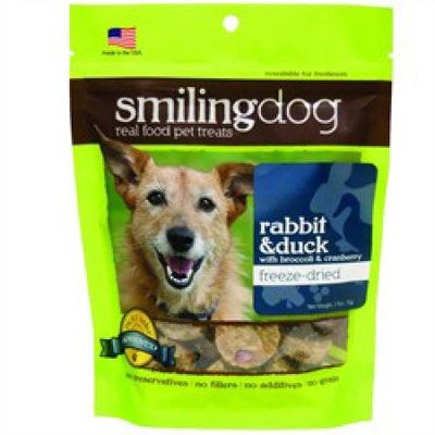 Herbsmith Smiling Dog Freeze Dried Rabbit & Duck Dog Treats 2.5 oz.
