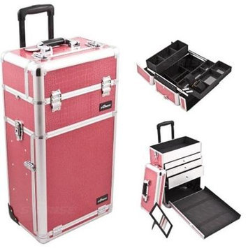 Just Case Sunrise I3263CRHP Hot Pink Crocodile Trolley Makeup Case