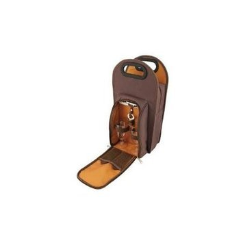 True Fabrications 2427 Brown Metropolitan 2-Bottle Tote - Pack of 6