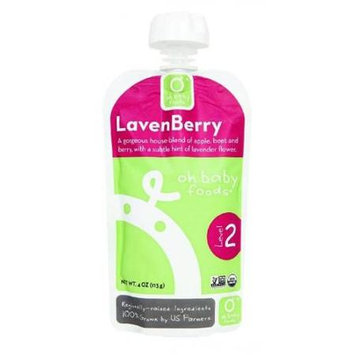 Oh Baby Foods Organic Baby Food - Textured Puree - Level 2 - LavenBerry - 4 oz, (Pack of 6)