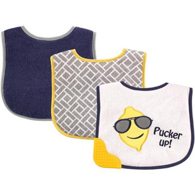 Baby Vision Luvable Friends 3 Pack Bibs with Teether - Blue Lemon