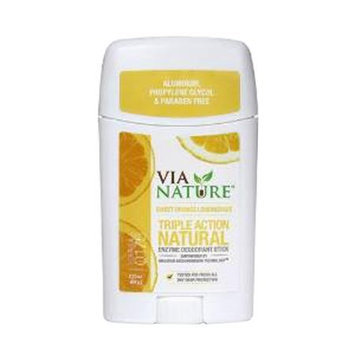 Via Nature - Triple Action Natural Enzyme Deodorant Stick Sweet Orange Lemongrass - 2.25 oz.