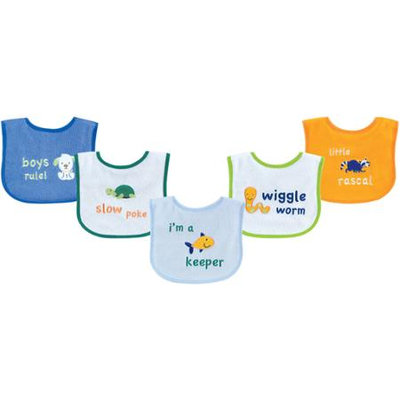 Baby Vision Luvable Friends 5 Pack Fun Sayings Bibs with PEVA Backing - Blue
