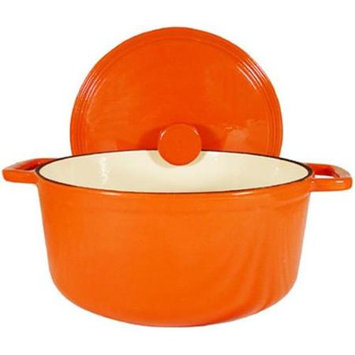 Fancy Cook Enamel Cast Iron Orange Round Dutch Oven 7.5 Quart