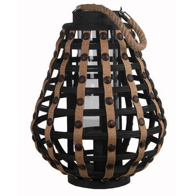 Privilege Black Small Wooden Weave Lantern