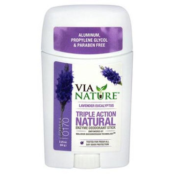 Via Nature - Triple Action Natural Enzyme Deodorant Stick Lavender Eucalyptus - 2.25 oz.