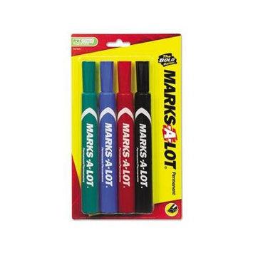 Marks-A-Lot Permanent Marker, Large Chisel Tip, Assorted, 4/Set