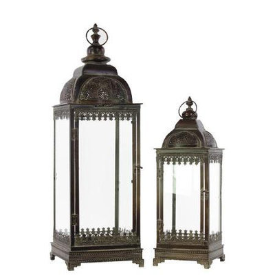 Urban Trends Metal Lantern with Ring Hanger, Glass Sides and Square Base Set of Two Pierced Bronze, Bronze