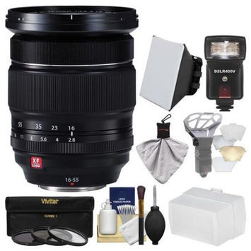 Fujifilm 16-55mm f/2.8 XF R LM WR Zoom Lens + Flash + Soft Box + 2 Diffusers + 3 Filters Kit for X-A2, X-E2, X-E2s, X-M1, X-T1, X-T10, X-Pro2 Camera