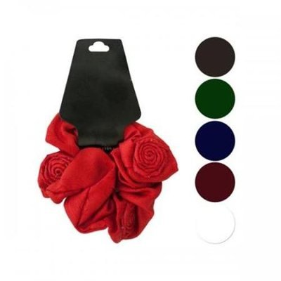 Bulk Buys Bi651 Twisted Rose Accents Hair Scrunchi Pack Of 24