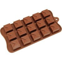 Freshware Brown 15-cavity Square Chocolate and Candy Silicone Mold