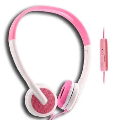UMA - Lightweight 3.5mm Stereo Headphones - White/Pink