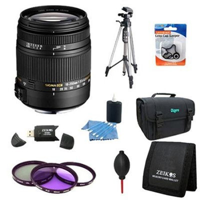 Sigma 18-250mm F3.5-6.3 DC OS HSM Lens for Canon EOS w/ 62mm Filter Lens Kit Bundle