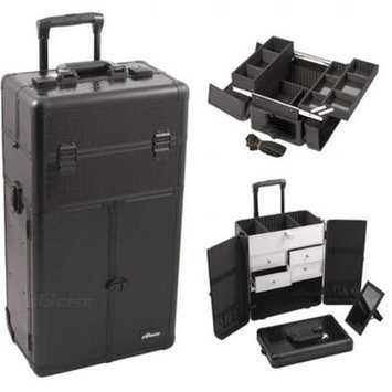 Just Case Sunrise Outdoor Travel Black Crocodile Texture Trolley Makeup Case - I3265