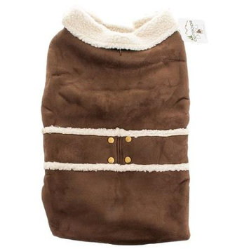 Ethical Shearling Dog Coat, Color: Brown, Size: Medium