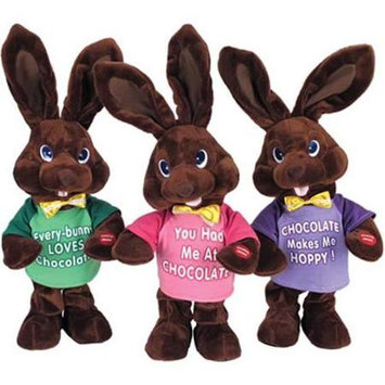 Chantilly Lane G3107/1 14 in. Chocolate Bunny Green T-shirt sings I Feel Good