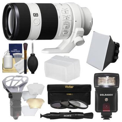 Sony Alpha E-Mount FE 70-200mm f/4.0 G OSS Zoom Lens with Flash + Soft Box + Diffuser Bouncer + 3 UV/CPL/ND8 Filters + Kit