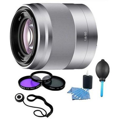 Sony SEL50F18 - 50mm f/1.8 Telephoto Lens with Filters and More