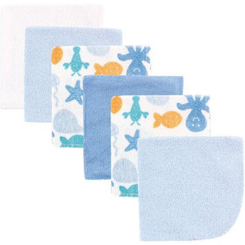 Baby Vision Luvable Friends 6 Pack Washcloths - Blue Sea Animals