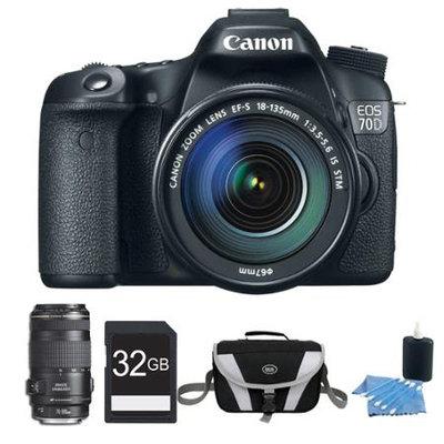 Canon EOS 70D Digital SLR Camera and EF-S 18-135mm Lens and EF 70-300mm Lens Bundle