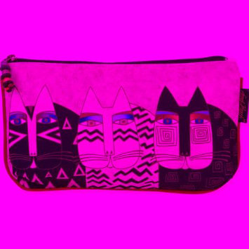 Laurel Burch Beige Wild Cats Three-In-One Cosmetic Bag Set