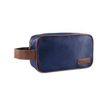 Jacki Design ABC15007BUB Luxurious Toiletry Bag with Handle Blue & Brown