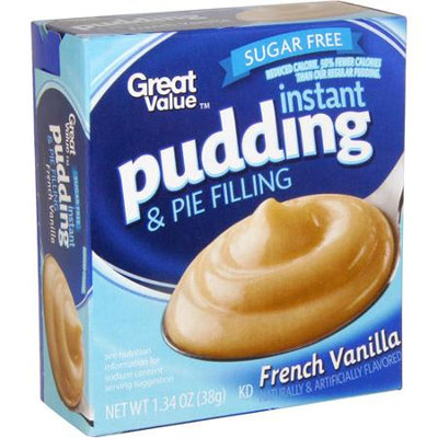 Great Value: Sugar Free French Vanilla Reduced Calorie Pudding & Pie Filling, 1.34 Oz
