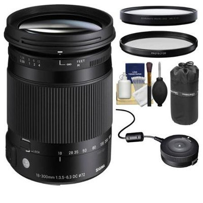 Sigma 18-300mm f/3.5-6.3 Contemporary DC Macro OS HSM Zoom Lens (for Canon EOS Cameras) with USB Dock + Protector Filter + Macro Filter + Pouch + Kit