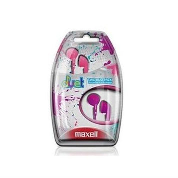 Maxell Duet Earphone - Stereo - Pink, Purple - Wired - Earbud - Binaural - Outer-ear