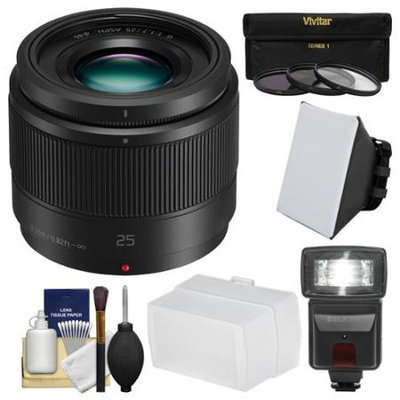 Panasonic Lumix G X 25mm f/1.7 ASPH Lens with Flash + Soft Box + Bounce Diffuser + 3 UV/CPL/ND8 Filters + Kit