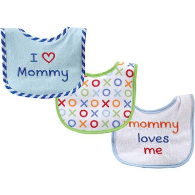 Baby Vision Luvable Friends 3 Count I Love Mommy Baby Bibs - Blue