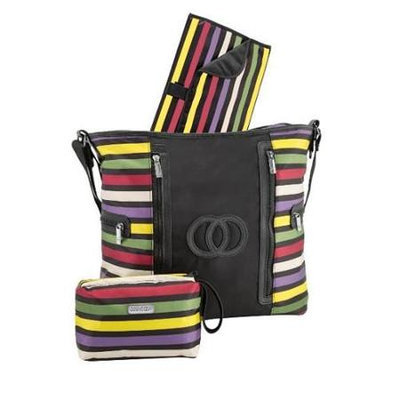 Cozy Coop 9066 Amber Nylon Stripe Diaper Bag
