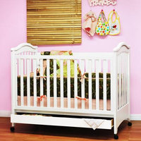 Athena Jeanie Convertible Baby Crib with Drawer and Toddler Rail in White