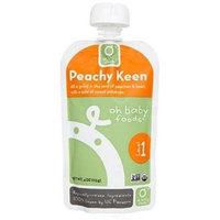 Oh Baby Foods Organic Baby Food - Puree - Level 1 - Peachy Keen - 4 oz, (Pack of 6)