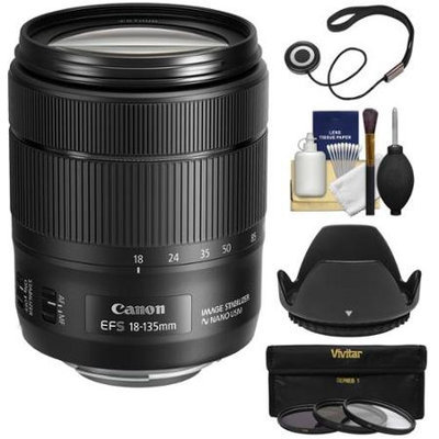 Canon EF-S 18-135mm f/3.5-5.6 IS USM Zoom Lens with 3 UV/CPL/ND8 Filters + Hood + Kit