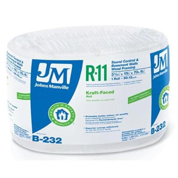 Johns Manville R11 15-in x 70.5-ft Faced Fiberglass Roll Insulation with Sound Barrier B232