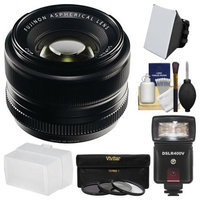 Fujifilm 35mm f/1.4 XF R Lens with Flash + Soft Box + Diffuser + 3 UV/CPL/ND8 Filters + Kit for X-A2, X-E2, X-E2s, X-M1, X-T1, X-T10, X-Pro2 Cameras
