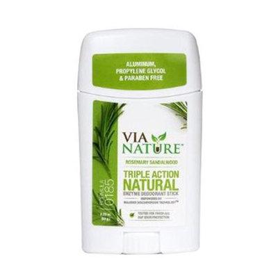 Via Nature - Triple Action Natural Enzyme Deodorant Stick Rosemary Sandalwood - 2.25 oz.