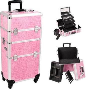 Just Case Sunrise I3561CRPK Pink Crocodile Trolley Makeup Case